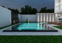 Backyard swimming pool 2019 Backyard swimming pool with wooden decking and artificial grass turf for low mantainence. Wall callding n wall washer lights adds up beauty to it. The post Backyard swimming pool 2019 appeared first on Deck ideas.