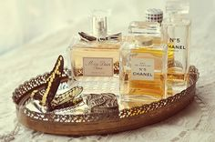 perfume bottles on a tray. I will def do this.