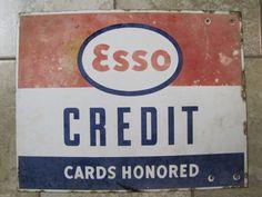 Rare 1950's Porcelain ESSO Gas Station Sign Credit by kheyteabART, $450.00