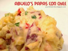 Your Little Birdie: Abuelo's Restaurant Cheesy Mexican Potatoes Fun Recipes, Other Recipes, Copycat Recipes, Potato Recipes, Recipe Ideas, Cooking Recipes, Mexican Dishes, Mexican Food Recipes, Mexican Potatoes