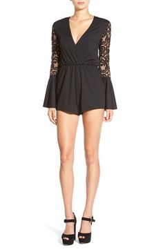 MISSGUIDED Missguided Lace Back Surplice Romper available at #Nordstrom