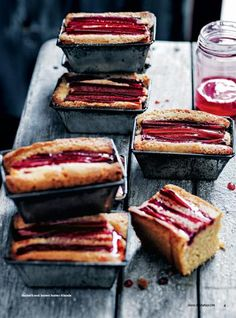 Donna Hay Current Issue Sneak Peak I can feel the tanginess of the rhubarb on the back if my tongue! Pavlova, Cupcakes, Mini Loaf Cakes, Pound Cakes, Sweet Recipes, Cake Recipes, Gateaux Cake, Rhubarb Recipes, Fabulous Foods