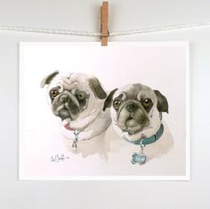Watercolor Painting Custom 3 Pets in 1 Portrait  by LaBerge, $109.00