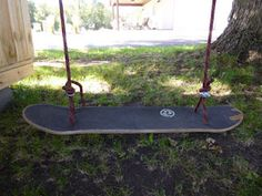 Make a Standing Skateboard Swing & checkout our brand new homemade clubhouse Outside Swing, Outside Playground, Skateboard Swing, Skateboard Furniture, Diy Fort, Kids Clubhouse, Indoor Swing, Outdoor Projects, Outdoor Ideas