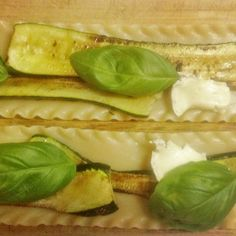 Assembling the zucchini lasagna rolls