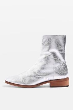 APRIL Metallic Leather Sock Boots