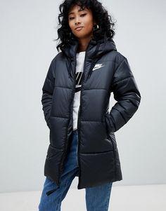 2589724360384 #Damen #Jacke von #Nike wendbares Design Einfach wenden wattiertes Futter  angenähte Kapuze Reißverschluss