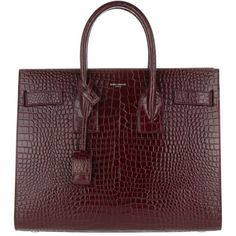 Saint Laurent Handle Bag - Sac de Jour Tote Small Croco Bordeaux - in... ($3,000) ❤ liked on Polyvore featuring bags, handbags, tote bags, red, tote handbags, zippered tote bag, tote purses, mini tote and zip tote