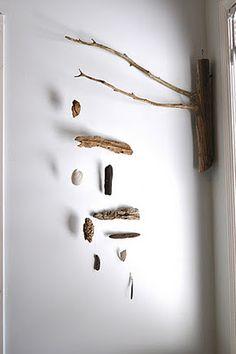 Driftwood + shells + fishing line= beautiful beach DIY wall decor!!