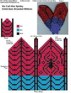 graph for spiderman mittens Knitted Mittens Pattern, Crochet Mittens, Crochet Gloves, Knit Or Crochet, Kids Knitting Patterns, Knitting Charts, Knitting Socks, Knitting Projects, Spiderman