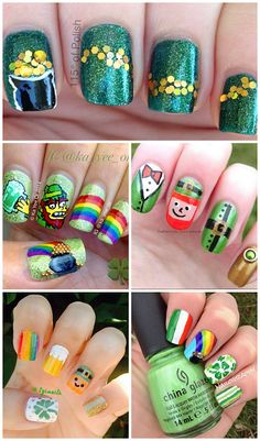 Festive St. Patrick's Day Nail Ideas! Find leprechauns, rainbows, gold, shamrocks, and more designs! | CraftyMorning.com