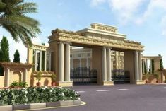 Gate Wall Design, Front Wall Design, Main Gate Design, Entrance Design, Entrance Gates, House Entrance, New Classical Architecture, Compound Wall Design, Gate Way