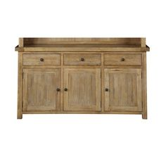 The collection features elegant lines and dramatic curves. Bel Air pieces are built from solid ash with an elm veneer and have lightly distressed surface finishes. Three drawers and three doors for storage.