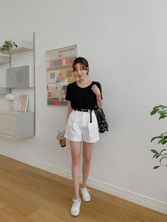 All Black Fashion, White Shorts, Women