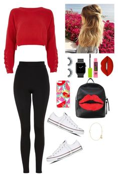 """""""IDK just another set"""" by gussied-up on Polyvore featuring River Island, Topshop, Lime Crime, Kristin Ess, Maybelline, Converse, Draper James, T-shirt & Jeans and Maya Magal"""