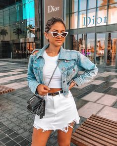 Summer outfit - white denim skirt, white crop top and a denim jacket