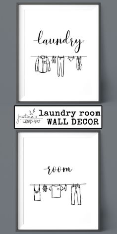 Laundry Room Decor, Printable Artwork, Set of 2 Prints, Laundry Room Sign Laundry Room Signs, Room Wall Decor, Word Art, Printable Wall Art, Fine Art Paper, Poster Prints, Printables, Messages, Words