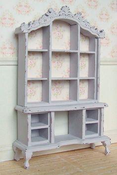 Dollhouse Miniature   Lilac Rose   Dresser Hutch Cabinet Furniture   Shabby Chic   12th Scale