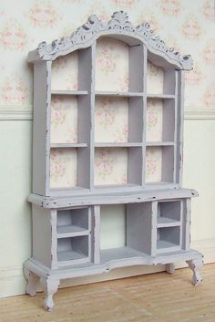 Dollhouse Miniature | Lilac Rose | Dresser Hutch Cabinet Furniture | Shabby Chic | 12th Scale