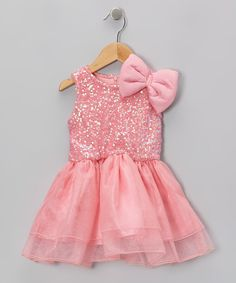 Take a look at this Coral Sequin Bow Dress - Toddler & Girls on zulily today!