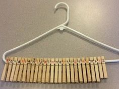Numbered Clothespins on a Hanger. I love this concept! Although this example uses the alphabet, the same idea could allow students with disabilities to practice placing numbers in order. Not only would it strengthen their knowledge of numerical order, but it could simultaneously work on fine motor skills. This is one of the coolest, yet most simple, tricks I've seen in a while!