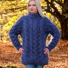 BLUE Hand Knitted Mohair Sweater Fluffy Cable Knit Pullover by SUPERTANYA M L XL #SuperTanya #Crewneck