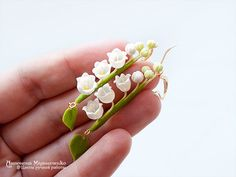 Earrings Lily of the valley Polymer Clay by SaisonRomantique