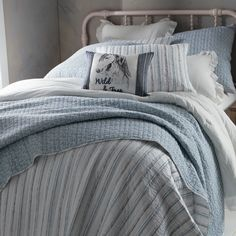 NEW! Country Grace Serenity Stripe Quilted Bedding Collection - Country Grace Home - Country Grace Types Of Furniture, New Furniture, Furniture Making, Bedroom Furniture, Rustic Bedroom Design, Farmhouse Master Bedroom, Bedroom Designs, Bedding Collections, Home Collections
