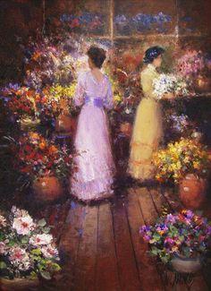 Ladies at the florist shop - Flowers - Impressionist art by Washington Maguetas (Brazilian painter)