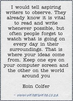 Writing Tips | Eoin Colfer | Tumblr