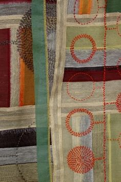 """By Jiseon Lee Isbara: detail from fiber art entitled """"Circuits,"""" hand- and machine-stitched, silk fabric and cotton thread, 2007"""