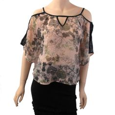 Angie Clothing Women's Blush Georgette Shirt Blouse Lace Insets Open Shoulder