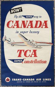 Original Travel Poster Canada '54 TCA Lockheed Constellation Vintage Airline Art #Vintage