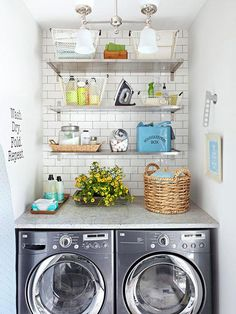 Just because you have a small laundry room doesn't mean it can't be packed with pretty storage and tons of organization. Check out this tiny apartment-size laundry room and all the stylish flea market storage bins and cute signs to make doing laundry a l Small Space Laundry Room Storage, Laundry Nook, Small Laundry Rooms, Doing Laundry, Laundry Room Organization, Laundry Room Design, Laundry In Bathroom, Organization Ideas, Laundry Storage