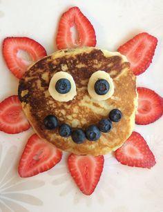 Sun Pancakes! Fun food for kids, breakfast ideas, fun Pancakes, toddler food.