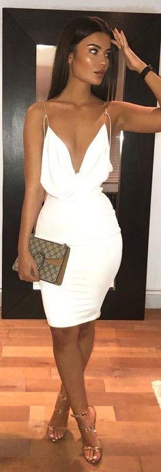 #spring #outfits white spaghetti strap dress. Pic by @dilara.ox