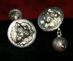 Handcast (in sand) Lion Head (Leo) Cufflinks with Sterling Silver Wire Links.  £20.00 plus P&P