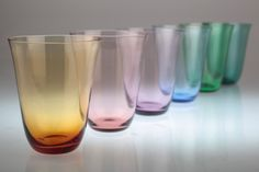 Farbglas Buntglas Trinkgläser 50er Jahre bunte zarte Gläser