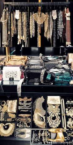 Behind the scene of a Chanel catwalk show.Kind of puts things in perspective.You can't have too much Chanel! Jewellery Storage, Jewelry Organization, Jewelry Box, Jewelry Closet, Prom Jewelry, Jewelry Cabinet, Hanging Jewelry, Chanel Jewelry, Jewellery Shops