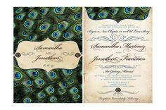 Vintage Peacock Feathers Wedding Invitation by MyBigDayDesigns