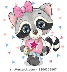 Buy Raccoon with a Bow on a White Background by on GraphicRiver. Cartoon Raccoon Girl with a bow on a white background Cartoon Cartoon, Cute Cartoon Animals, Baby Animals, Cute Animals, Cute Animal Clipart, Cute Clipart, Cute Owl, Cute Bunny, Cute Raccoon