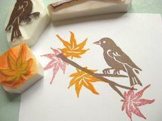 Cute stamp set: Japanese maple tree (momiji) branch, leaf and bird set - Hand carved rubber stamp