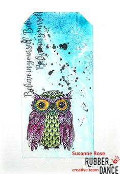 * Rubber Dance Blog *: Mixed Media Tag with Owl