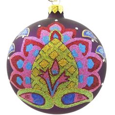 Holiday Ornament BOHEMIAN FLOWER Blown Glass Ball Christmas HA04701AC