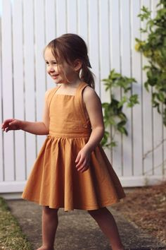 The Sunday pinafore in Spice - girls dresses - girls pinafore - mustard - girls dress - toddler dres Baby Girl Party Dresses, Little Girl Outfits, Kids Outfits Girls, Cute Outfits For Kids, Little Girl Fashion, Toddler Girl Dresses, Kids Fashion, Girls Dresses, Toddler Girls