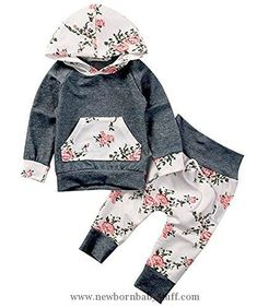 Baby Girl Clothes Baby Girls Long Sleeve Flowers Hoodie Top and Pants Outfit with Kangaroo Pocket (80(6-12M), Grey)