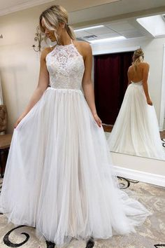 wedding dress plus size A Line Halter Tulle Wedding Dress with Top Lace, Backless Beach Wedding Dresses How To Dress For A Wedding, Luxury Wedding Dress, Classic Wedding Dress, Wedding Dresses Plus Size, Tulle Wedding, White Wedding Dresses, Lace Dresses, Bridal Dresses, Wedding Gowns
