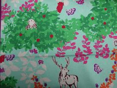 Echino by Etsuko Furuyo, Japanese LAMINATED Cotton Linen Canvas, Woodland Deer in Aqua, 1 yard