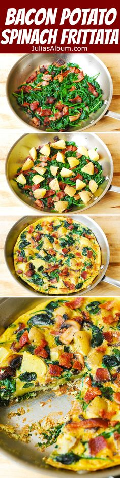 BREAKFAST: Bacon, Potato, and Spinach Frittata. Healthy, gluten free, lots of protein and vegetables! Leave out bacon for vegetarian version. Bacon Breakfast, Free Breakfast, Breakfast Time, Healthy Breakfast Recipes, Healthy Snacks, Healthy Eating, Healthy Recipes, Breakfast Frittata, Breakfast Casserole