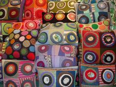 """'handmade pillows from recycled sweaters"""". using wool would be another option. Fabric Art, Fabric Crafts, Sewing Crafts, Sewing Projects, Penny Rugs, Recycling, Recycled Sweaters, Wool Sweaters, Wool Quilts"""
